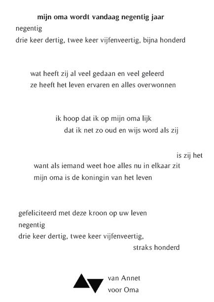 Vaak Voorkeur Gedicht Oma Jarig QTO-75 | Wofosogo @EM86